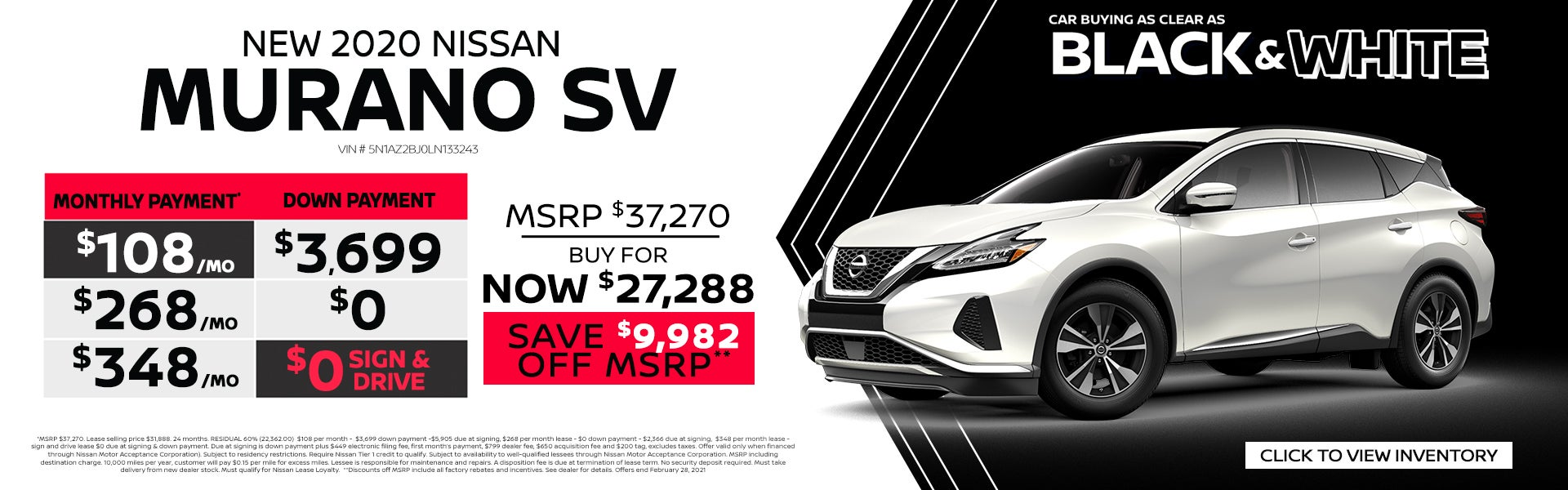 New 2020 Nissan Murano Sv Coral Springs Nissan Specials Coral Springs Fl